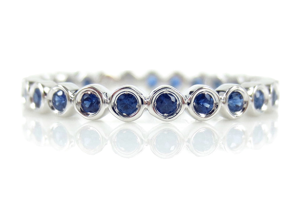 18K White Gold Sapphire Bezel-set Eternity Band - 2.2mm