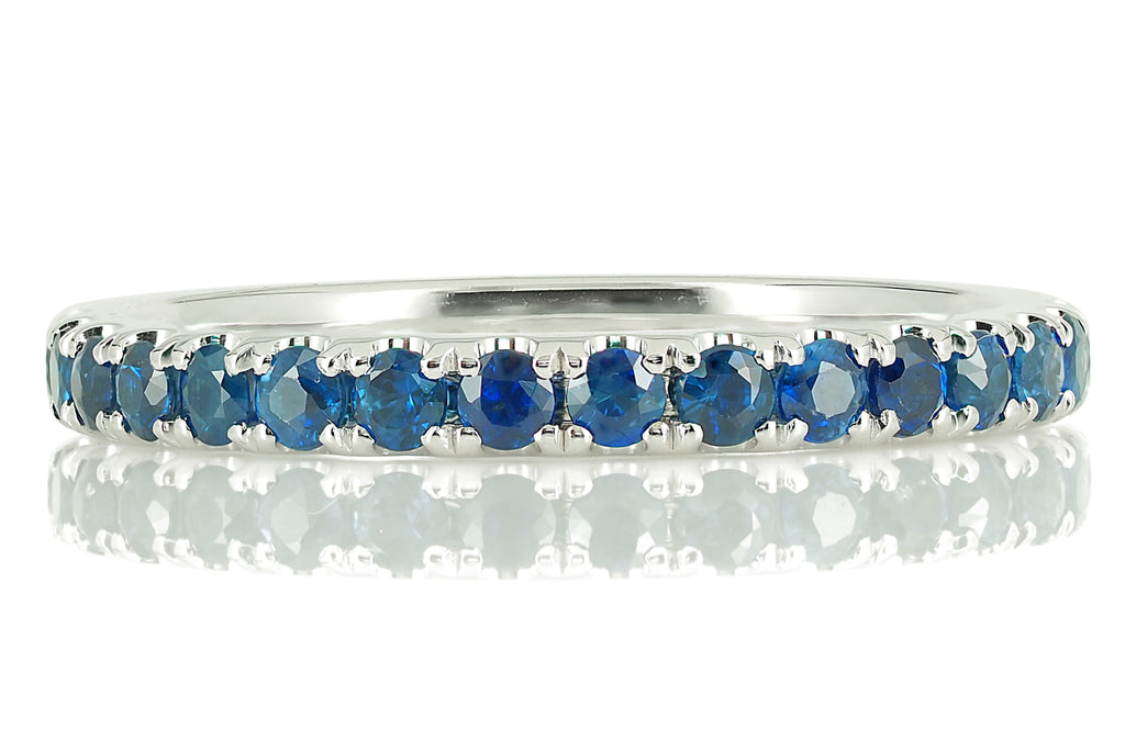 18K White Gold Blue Sapphires Eternity Band - 2.2mm