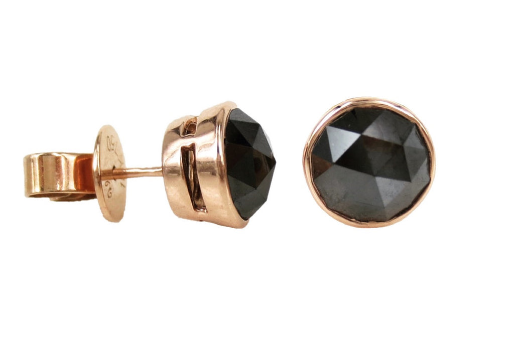 Rose-cut Black Diamond Bezel-set Stud Earrings - 3.32cts T.W