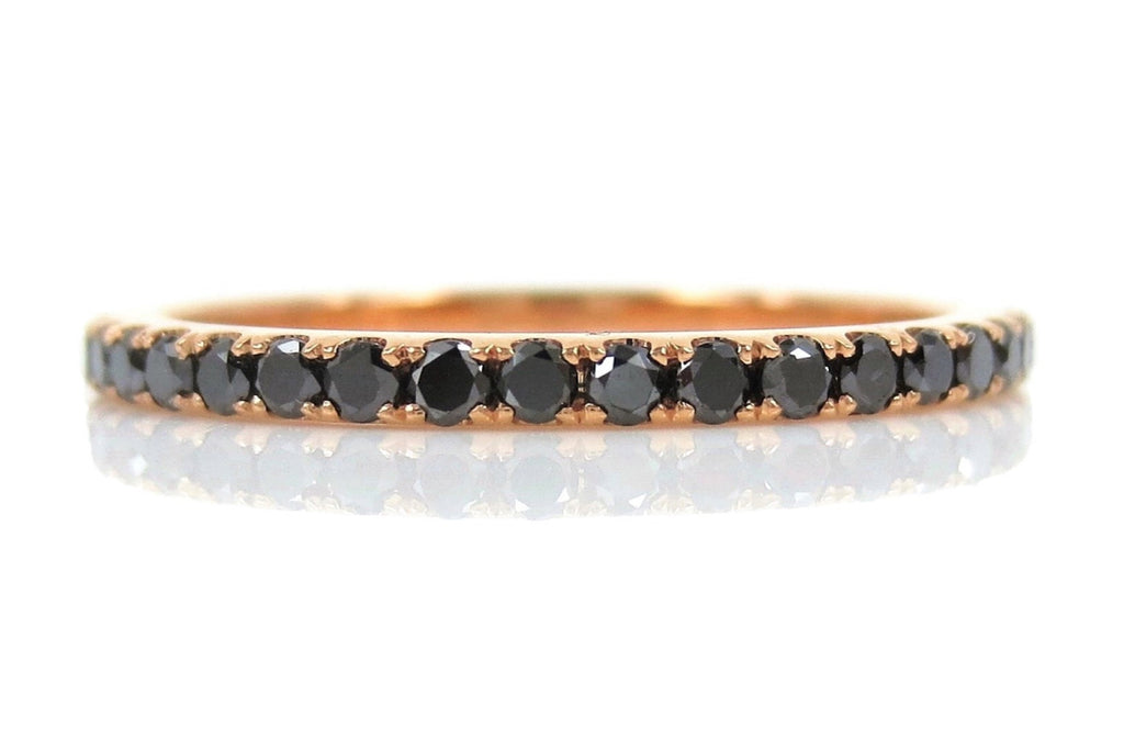 18K Rose Gold Black Diamond Eternity Band - 1.6mm