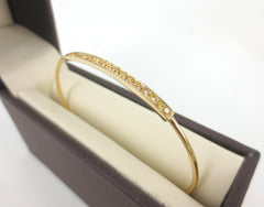 0.68cts Natural Yellow Diamond Pave Bar Bangle set in 18k Yellow Gold.