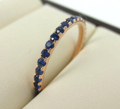 1.7mm Pave Blue Sapphire 18k Rose Gold Eternity Band