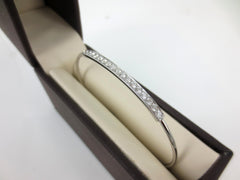 0.66cts Diamond Pave Bar Bangle set in 18k White Gold.