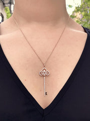 18k Rose Gold Diamond Key Pendant - Necklace