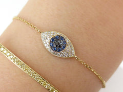 Diamond Against Evil Eye Bracelet in Solid 18k Yellow Gold