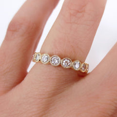 3.5 mm Milgrain Bezel Set Round Diamond Eternity Band - 18K Yellow Gold -