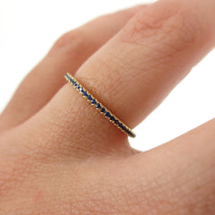 18K Yellow Gold Dainty Sapphire Eternity Band -1.3mm