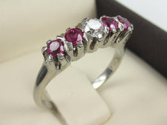 Antique Victorian Ruby and Diamond Five Stone Ring
