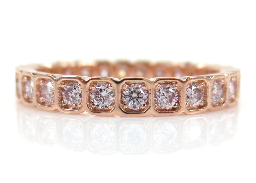 2.8mm Square Bezel Box round Pink Diamond Eternity Band - Wedding Band