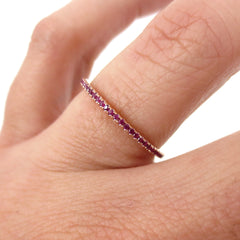 Micro Pavé Ruby Eternity Band - 18K White Gold
