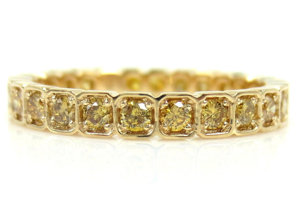 2.8mm Square Bezel Box round Natural Yellow Diamond Eternity Band - Wedding Band