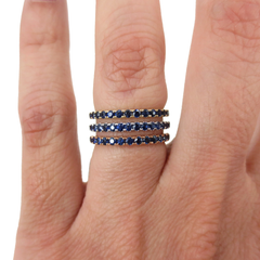 18K Rose Gold Blue Sapphires Eternity Band - 2.2mm