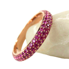 Micro Pavé Ruby 3 Row Dome Eternity Band - 18K Rose Gold
