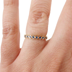 18K Yellow Gold Sapphire Bezel-set Eternity Band - 2.2mm