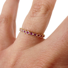 18K Yellow Gold Ruby Bezel-set Eternity Band - 2.2mm