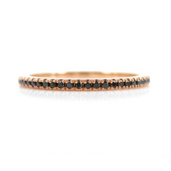 18K Yellow Gold Micro Pavé Black Diamonds Eternity Band - 0.20 cts T.W