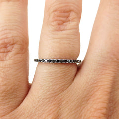 18K White Gold Black Diamond Eternity Band - 1.6mm