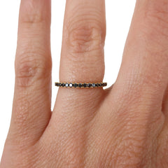 18K Yellow Gold Black Diamond Eternity Band - 1.6mm