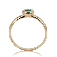0.20cts Bezel-Set Solitaire Emerald Ring - 14K Rose Gold