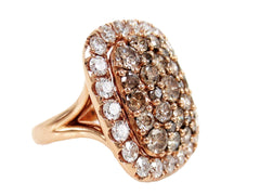 Natural Brown & White Diamonds Cluster Cocktail Ring – 18K Rose Gold