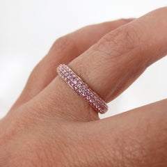 Three Row Pavé Light Pink Sapphires Eternity Band -18K Rose Gold