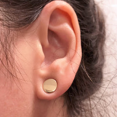 14K Rose Gold Disc Stud Earrings