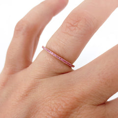 Micro Pavé  Light Pink Sapphires Eternity Band - 18K Rose Gold