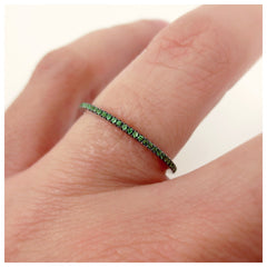 Green Tsavorite Garnet Eternity in 18K White Gold Band