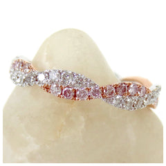 Infinity Twist Pavé-Set Diamond & Pink Diamond Eternity Wedding Band
