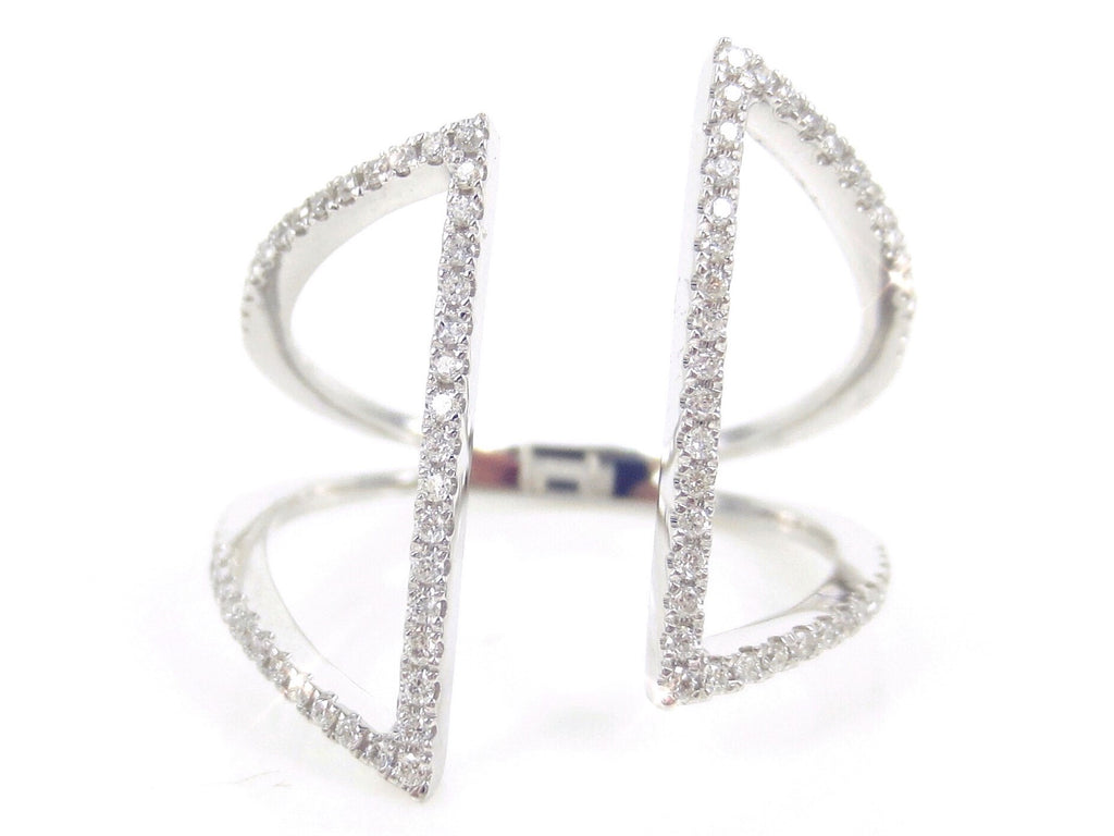 Micro Pave Diamond Open Geometric 18k White Gold  Ring - 0.26cts T.W