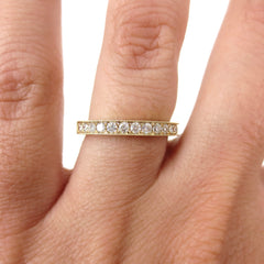 Half-eternity Diamond Band - Milgrain Edges - Edwardian Inspired