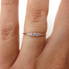 Seven Stones Graduated Pink Diamond Ring - 18K Rose Gold
