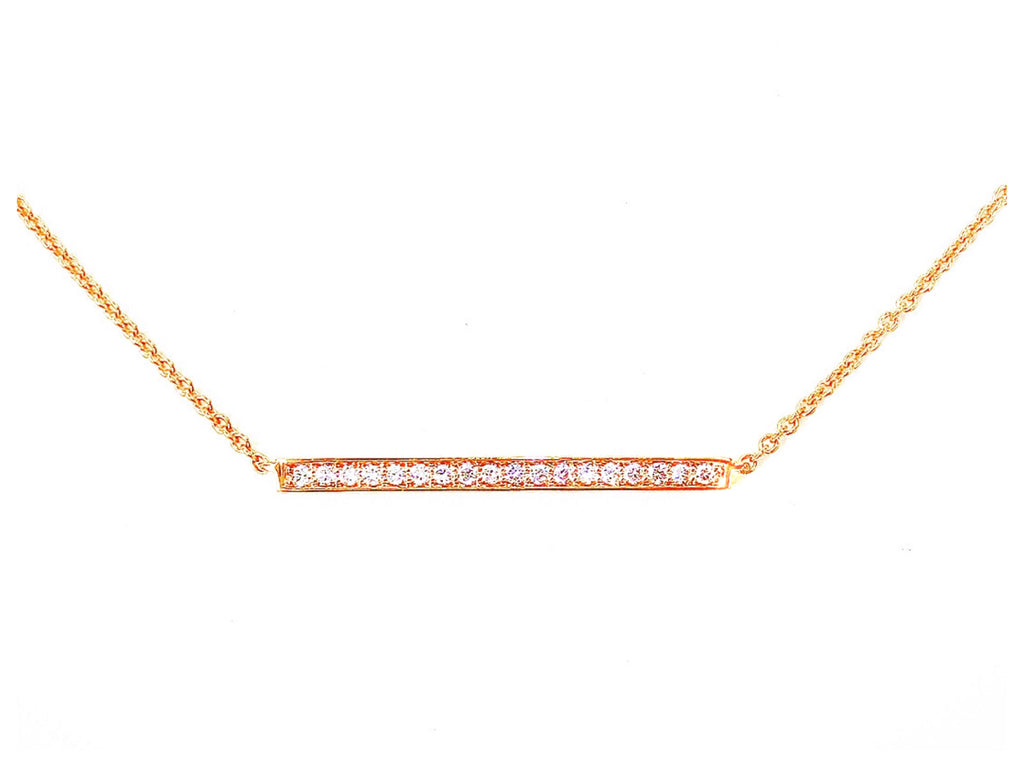 18K Rose Gold Diamond Pave Mini Bar Necklace - Pendant