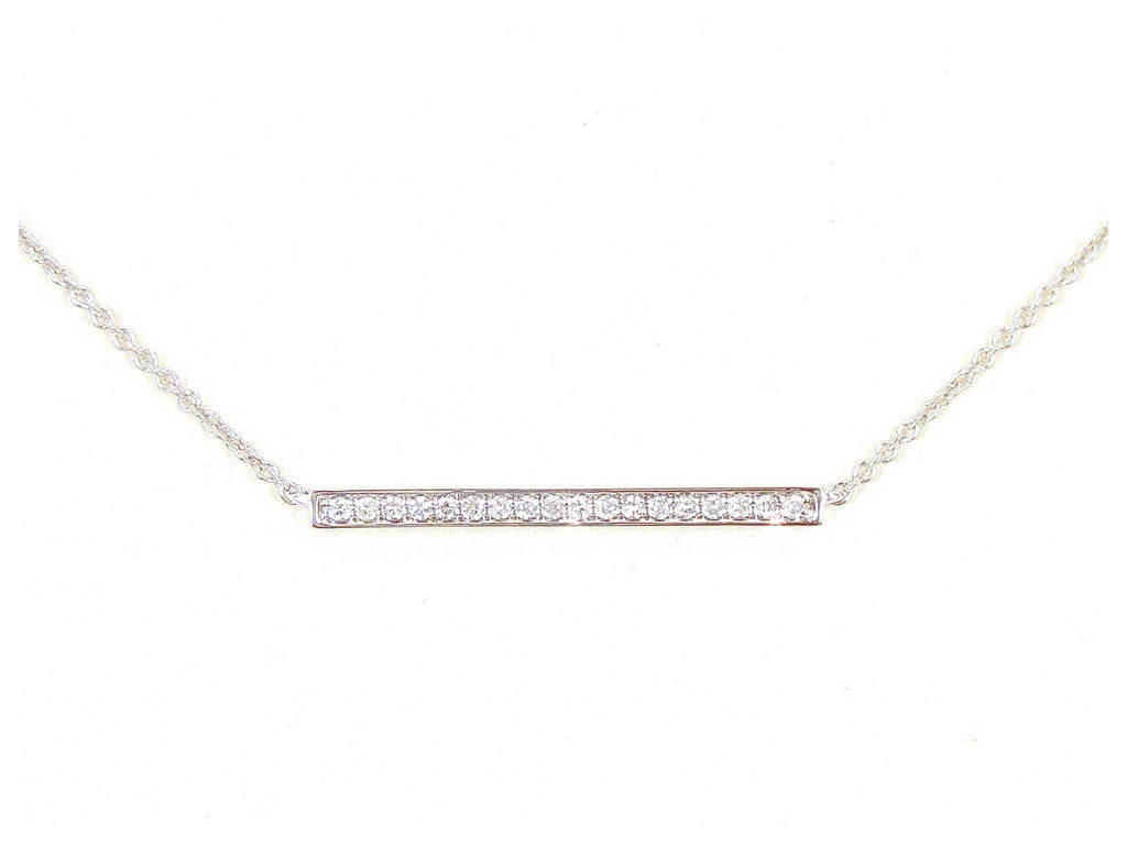 18K White Gold Diamond Pave Mini Bar Necklace - Pendant