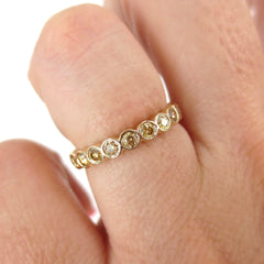Bezel-set Round Yellow Diamond Eternity Band - 18K Yellow Gold