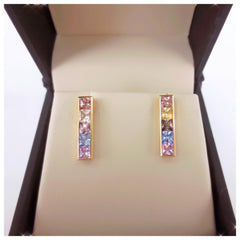 Rainbow Natural Channel-set Sapphire Bar Earrings - 18K Yellow Gold