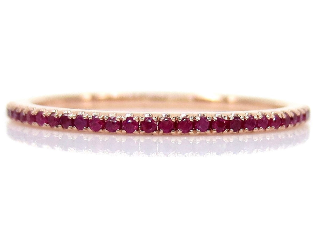 Micro Pavé Ruby Eternity Band - 18K Rose Gold