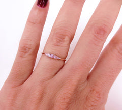 Seven Stones Graduated Light Pink Sapphire Ring - 18K Rose Gold