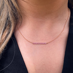 Light Pink Sapphire Mini Bar Necklace - 18K Rose Gold