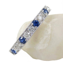 Diamonds & Blue Sapphires Half-eternity Band - Milgrain Edges - Edwardian Inspired