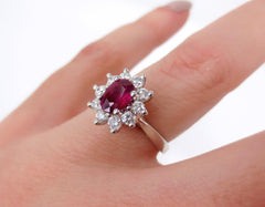 Oval Ruby and Diamond Halo Ring, 18K White Gold
