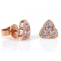 18k Rose Gold Pink and White diamond Triangle Earrings - Studs