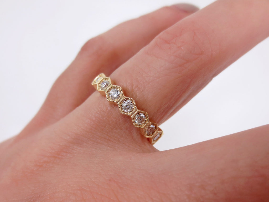 4mm Hexagon Diamond Eternity Milgrain Band - 18K Yellow Gold – Zina ...