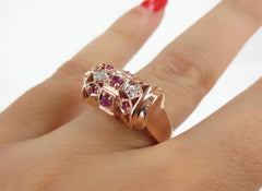 Circa 1940's Ruby & Diamond 14K Rose Gold Cocktail Ring