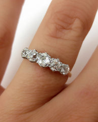 Victorian Five Stone Old Mine Cut Diamond Ring - 0.75cts T.W