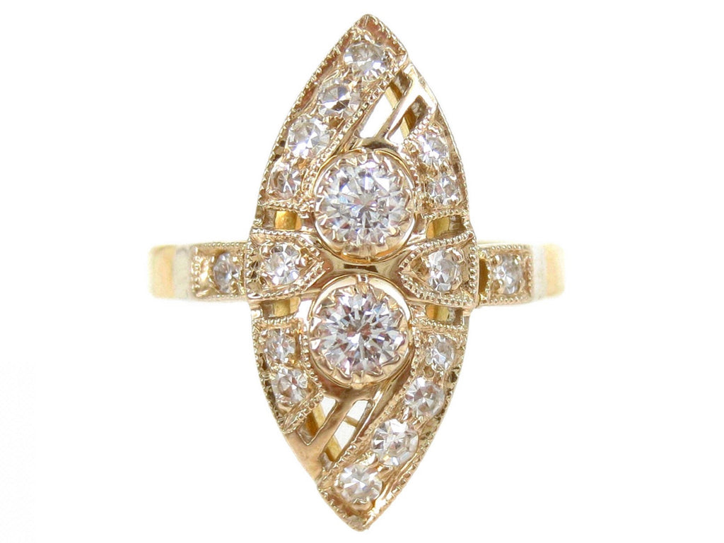 Vintage Diamonds 18K Marquise Shaped Ladies Cocktail Ring