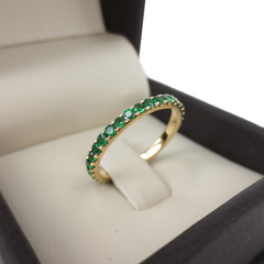 18K Yellow Gold Tsavorite Eternity Band  - 2mm