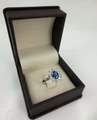Oval Sapphire and Diamond Halo Ring, 18K White Gold