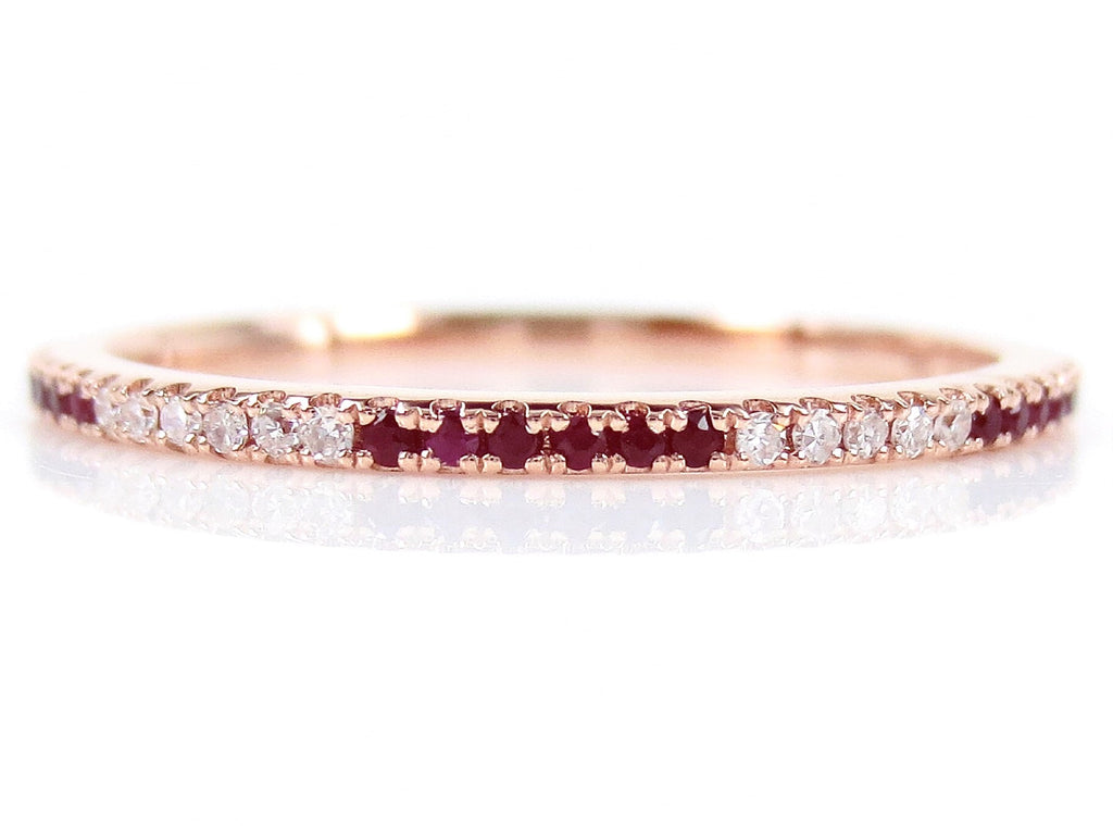 Micro Pave Ruby Eternity Band - 18K Rose Gold