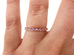2.2mm Bezel Set Round Pink Sapphire Eternity Band in 18k Rose Gold